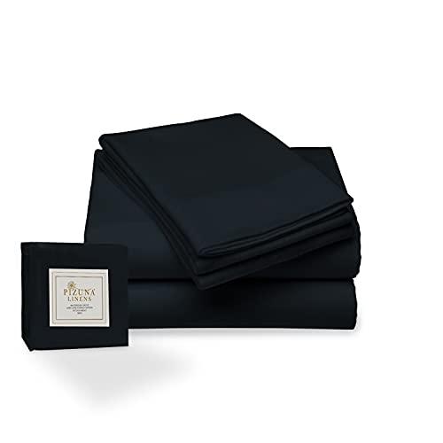 Juego de sábana de 400 conteo de Hilos, 4 Piezas de 100% algodón de Fibra Larga, Suave Saten Conjunto de Hojas, 1 sábana Adjustable 1 sábana Plana 2 Fundas de Almohada (Medianoche Negro - Cama 135cm)