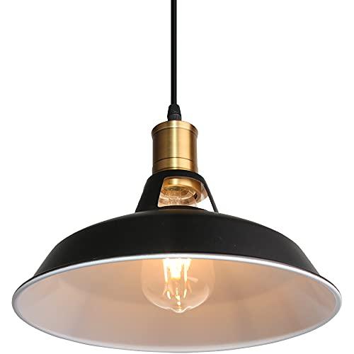 Lámpara Colgante Vintage, TOKIUS Ø27cm Lámpara de Techo Retro de Metal Industrial E27 Lámpara Araña para Comedor Cocina Restaurante, 1m Cable (Blanco + Negro, 1 Pieza)
