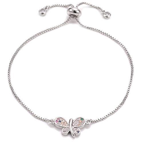 Armband Armreif Armkette Damen Schöne Mehrfarbige Zirkonia Schmetterling Charm Armband Verstellbare Kette Roségold Farbe Armbänder Frauen Schmuck Silber