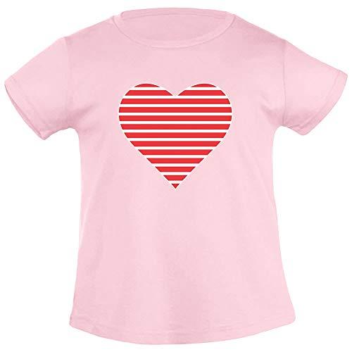 Meisjescadeau - rood wit gestreept hart meisje T-shirt