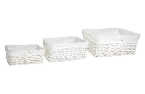 HERSIG - Set 3 Pongotodos Mimbre Natural   Cesta Mimbre Rectangular con Forro, sin Asas - Color Blanco