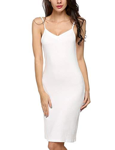Avidlove Ivory Slip Women's Long Slips Spaghetti Strap Basic Cami Dress(White,S)