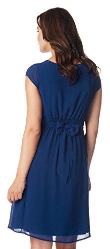 Damen Umstands- Kleid Gerafftes Taillenband Dress Farbe: Medium Blue - 2