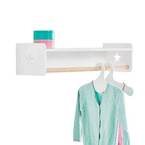 WAJI Slaapkamer kapstok rek, eenvoudige houten plank, enkele paal kleding opknoping muur plank houten