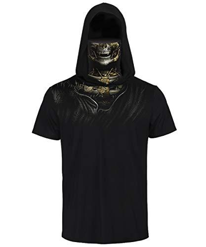 FEOYA Kapuzenshirt Herren Kurzarm Sommer Biker Tshirt Herren Totenkopf Tshirt Skull Kostüm Kapuzenshirt Hoodie mit Mundschutz Tank Top Herren mit Kapuze M