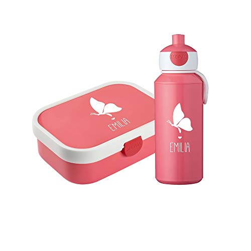 4you Design Set ✶Brotdose & Trinkflasche Silhouette + Name✶ versch. Motive & Farben ✶Mepal Campus + Bento Box & Gabel ✶Schule ✶Kind (Schmetterling, Pink)