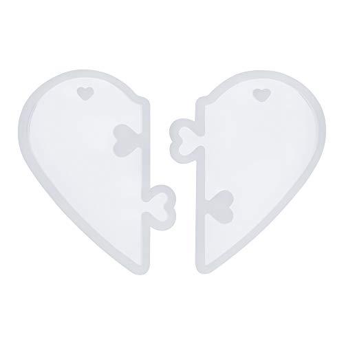 Casting Craft Collar Colgante Puzzle Corazón Cristal Caída Pegamento Molde Llavero Molde Resina Molde Moldes Silicona