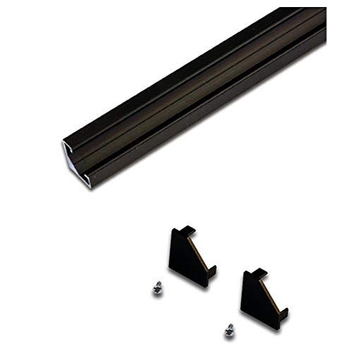 2er Set Endkappe für LED Eckprofil 19mm, mit Befestigungsschrauben schwarz