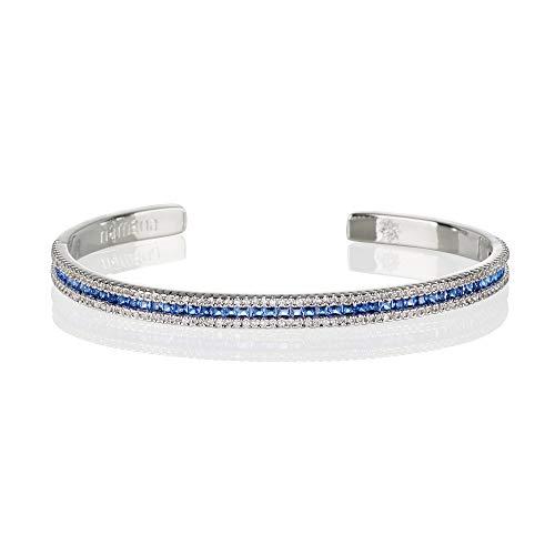 namana Armreif in Blau für Damen. Manschettenarmband in Silber für Frauen mit blauen Zirkonia-Steinen. Offener Armreif mit Geschenkbox