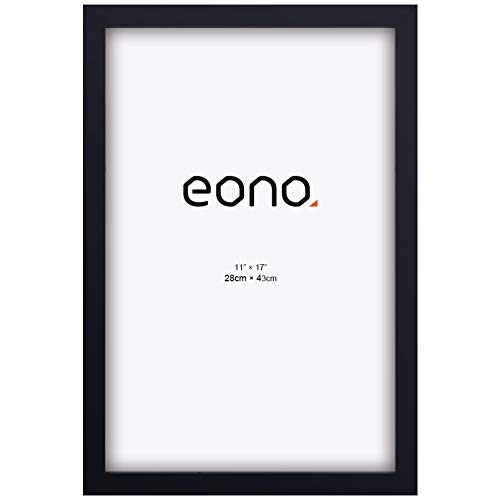 Eono by Amazon - 28x43 cm Posterrahmen aus Massivholz mit Hochauflösendem Wandhängend Bilderrahmen Schwarz