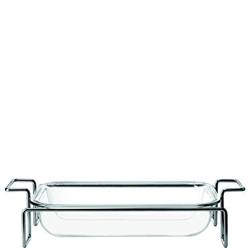 Leonardo Gusto Auflaufform mit Ständer, 2-teiliges Set, hitzebeständiges Klarglas und Metall, 034304