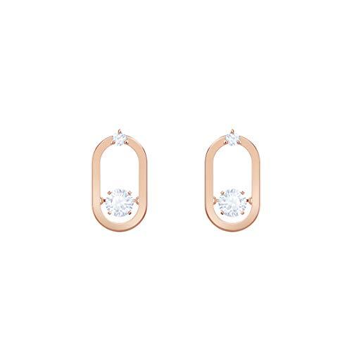Swarovski Pendientes Sparkling Dance, blanco, Baño en tono Oro Rosa