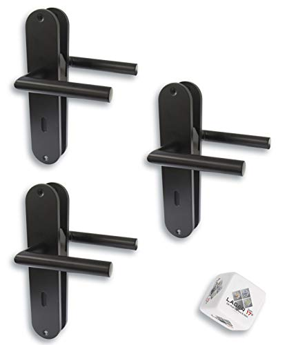 Türbeschlag 3er Set, Renovierungsgarnitur für Zimmertüren schwarz matt, Türklinke Türgriff