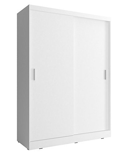 mb-moebel Kleiderschrank Schrank Gaderobe Schiebtüren Kuba A1 (Weiß, 130 cm)