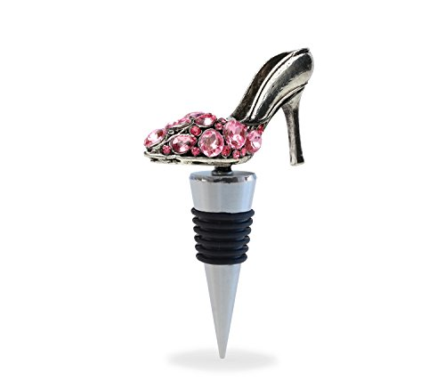 Puzzled Metal High Heel Shoe Premium Decorative Metal Alloy with Crystals Wine Sealer / Stopper / Plug / Cover- Reusable Fashion Collection - 5 INCH - Unique Elegant Gift and Souvenir - Item #6059