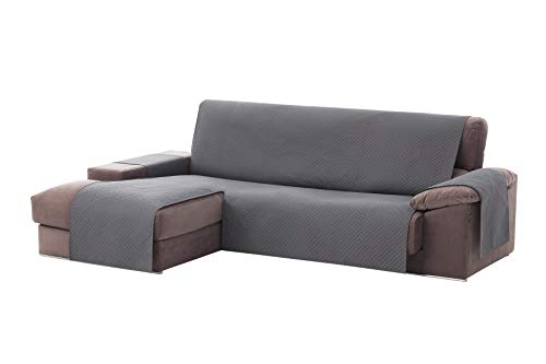 Textilhome - Funda Cubre Sofá Chaise Longue Adele, Protector para Sofás Acolchado Brazo Izquierdo. Tamaño -240cm. Color Gris (Visto DE Frente)
