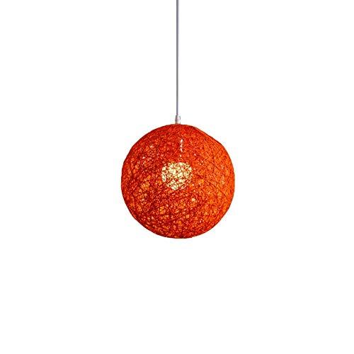 FICI 1 st Creativiteit Bamboe Rotan Hennep Bal Kroonluchter Bolvormige Rotan Nest Lampenkap woondecoratie accessoires, Roze