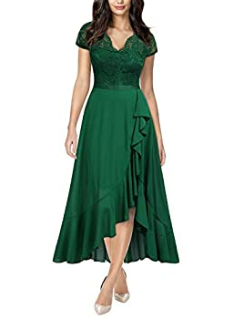 Miusol Women s Formal Floral Lace Ruffle Cocktail Party Dress,X-Large,Green