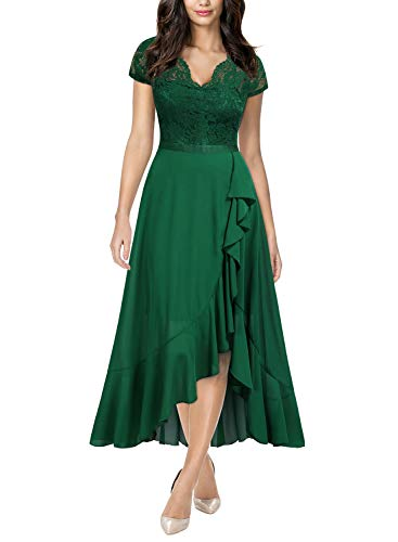 Miusol Women's Formal Floral Lace Ruffle Cocktail Party Dress,X-Large,Green