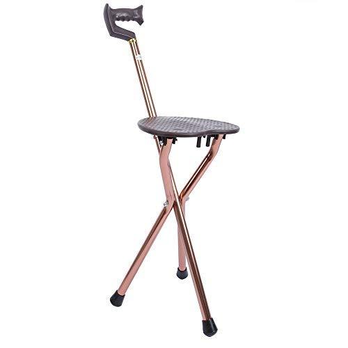 Sedile pieghevole in canna, sgabello regolabile a tre gambe con bastone da passeggio con rivestimento per gambe antiscivolo in lega di alluminio, adatto per gli anziani