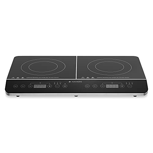 Navaris Double Induction Cooktop - Portable Dual Countertop Electric Stove Burner Cook-Top Hot Plate with 2 Hobs for Cooking - 24 x 14 x 3 Inches