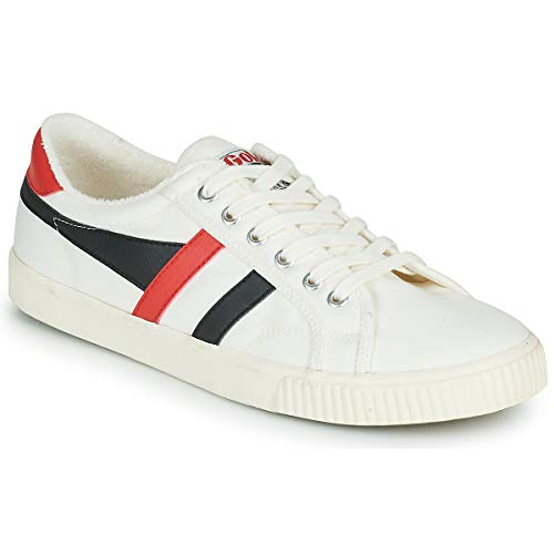 Gola Herren Tennis Mark Cox Sneaker, Off-White, Schwarz, Rot, 44 EU
