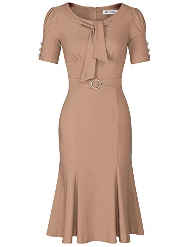 MUXXN Womens Pinup Style Scoop Neck Ruched Midi Semi Formal Camel Casual Cocktail Dress (Camel M)