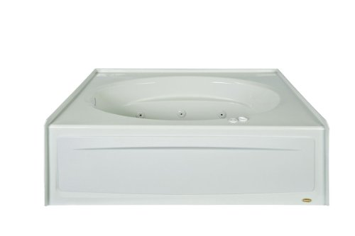 Jacuzzi J4S6042WLR1XXW White 60' x 42' Signature Three Wall Alcove Whirlpool Bathtub with 6 Jets, Air Controls, Tiling Flange, Skirt, Left Drain, and Right Pump