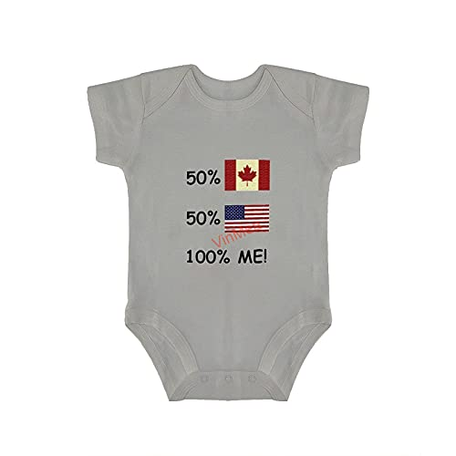 VinMea Body de bebé divertido traje de manga corta ropa 100% me canadiense americano para bebés dulces y niñas (0-18 meses)