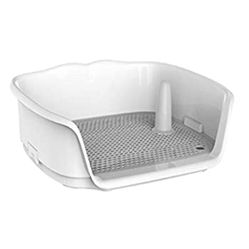 Wnvivi Dog Training Toilet 17.3 x15.2 x6.7  Small Dog Potty Fence Dog Toilet Puppy Dog Potty Tray Puppy Pad Holder with Removable Post and Wall Cover for 8kg/17Ib Dogs Puppies Small Pets -Gray