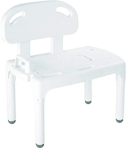 EASY TRANSFER INTO THE TUB. One side of the tub bench sits outside the tub, the other inside the tub. Simply sit on the outside part of the bathroom bench and slide the legs around to the inside bath side. EXACT LEVEL HEIGHT ADJUSTABLE LEGS make it e...