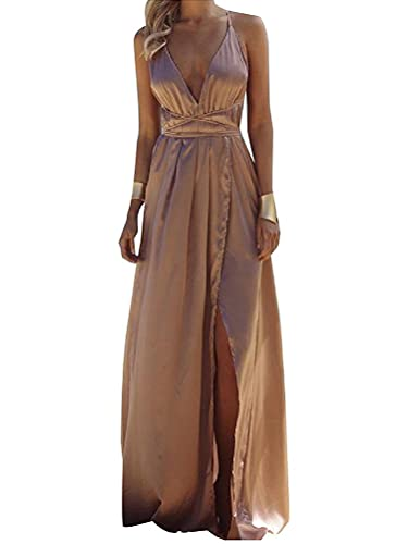 Minetom Donna Estate Vestiti da Sera Eleganti Lungo Abiti da Cocktail Senza Maniche Scollo a V Dress...