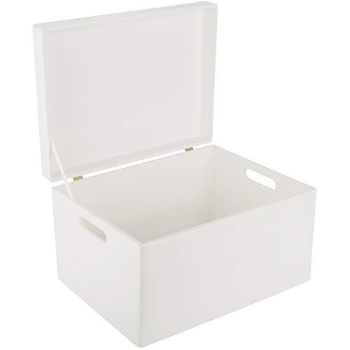Creative Deco XXL Weiß Große Holzkiste Aufbewahrungsbox Spielzeug | 40 x 30 x 24 cm | Mit Deckel