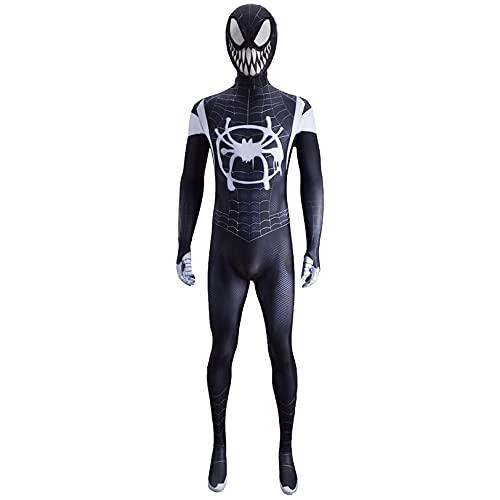 Jumpsuit de Spiderman en el Verso de la Cine de los fanáticos de la película New Era Little Black Spider Myers Personaje Halloween Traje de Halloween Medias Etapa Traje,Bodysuit-Adult XL(170~175cm)