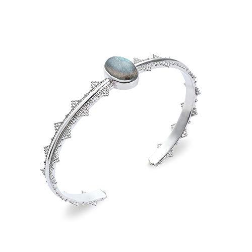 Tata Gisele© pulsera Junco en plata 925/000rhodié y piedra semi Noble Labradorita–Corona–incluye bolsita regalo terciopelo