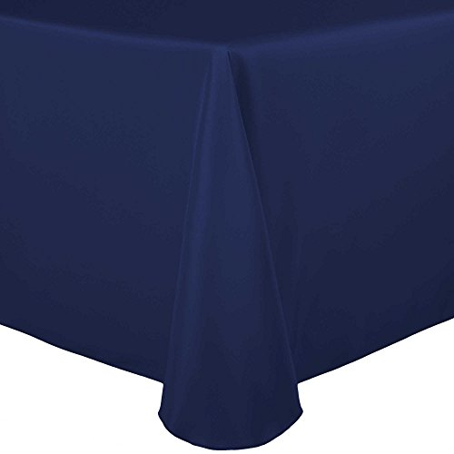 Ultimate Textile 70 x 104-Inch Oval Polyester Linen Tablecloth Navy Blue
