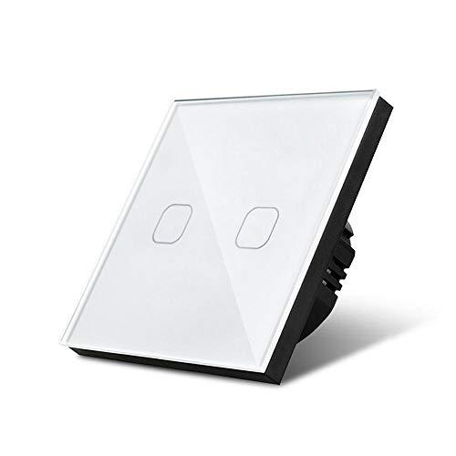 1/2/3 Gang 1 Way Light Touch Switch Sensor Empotrado de la lámpara de pared Interruptor del interruptor de cristal templado Estándar 220V-240V Interruptor Luz Pared (Color : 2 Gang 1 Way White)