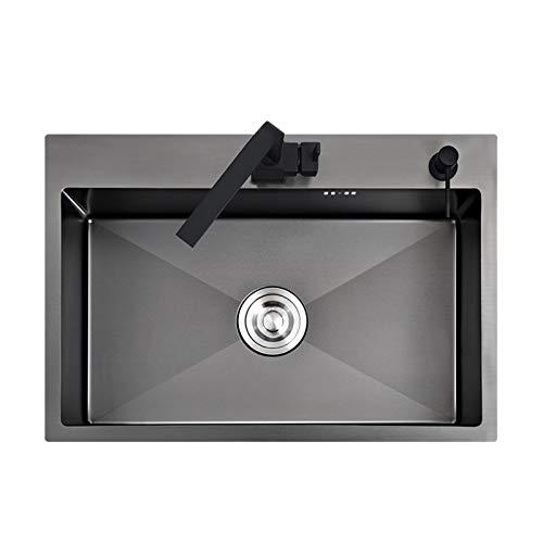 YHDZ Yhdzswb Estilo Contador Negro o Vegetales Lavabo del Fregadero de Cocina del Fregadero de Cocina de Acero Inoxidable Negro Negro Sink (Color : W Set)