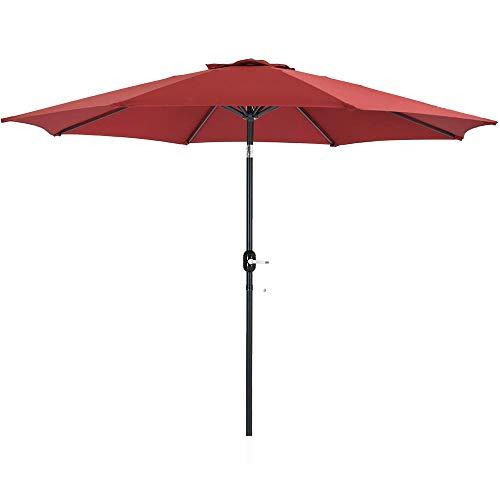 Patio Watcher 11-Ft Patio Umbrella Outdoor Umbrella with Push Button Tilt and Crank, 8 Steel Ribs, Red