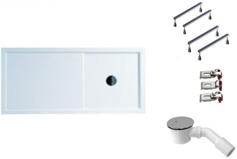 Galdem Duschwannen Set Enriqua, 160x75x4,5 cm, hochwertiges Duschen komplett SET Besteehend aus einer flachen Rechteck Acryl Design Duschwanne, Duschwannenfu hhe