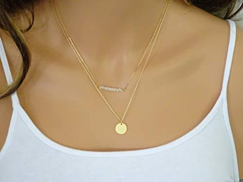 SonMo Damen Halsband Choker Mehrreihig Kette Halskette Vergoldet 2 Reihig Damen Halskette Anhänger Geometrische Perlenstickerei Aus Pailletten Quaste Anhänger Kette Gold 40Cm/5Cm Lang