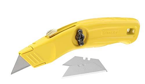 Stanley Messer (einziehbare Klinge, schmale Nase, Ersatzklingenfach, ergonomisches Design, drei Ersatzklingen) 0-10-707