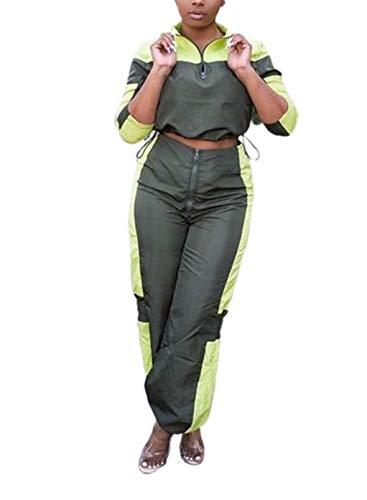 CORAFRITZ Conjunto de 2 piezas casual de patchwork para mujer, cuello alto, manga larga, cintura alta, pierna ancha, pantalones deportivos