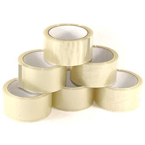 LILENO HOME Klebeband Transparent 50mm x 66m (6 Rollen) leise abrollend - Paketklebeband Transparent - Breites Packband als Kleberollen-Set - Durchsichtiges Umzug Klebeband Verpackungsklebeband