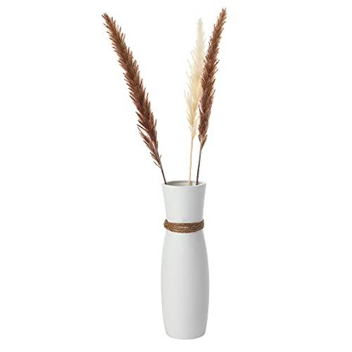 Wisolt Jarrón blanco mate, jarrón decorativo blanco de cerámica, grande, para casa, oficina, jardín, fiesta, boda, restaurante (25,5 cm)