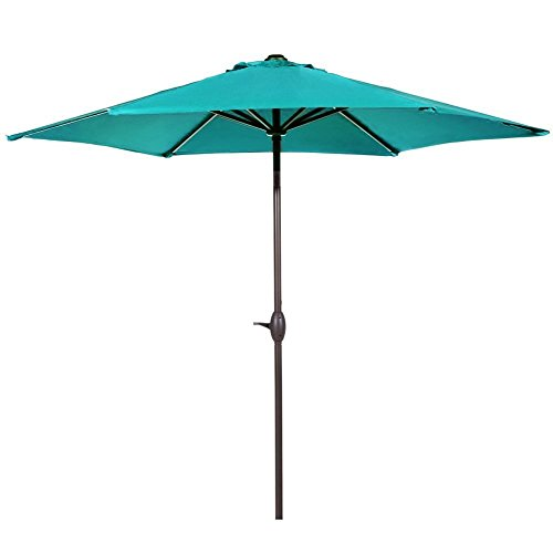 Abba Patio 9ft Patio Umbrella Outdoor Umbrella Patio Market Table Umbrella with Push Button Tilt and Crank for Garden, Lawn, Deck, Backyard& Pool, Turquoise