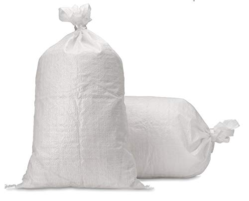 """UpNorth Sand Bags - Empty White Woven Polypropylene Sandbags w/Ties, w/UV Protection; size: 14"""" x 26"""", Qty of 10"""