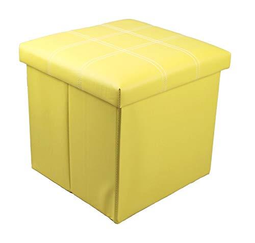 GMMH Hocker Sitzhocker Original 38 x 38 x 38 cm Box Aufbewahrungsbox Sitzwürfel Truhe Fußbank Sitzbank Faltbar (gelb)