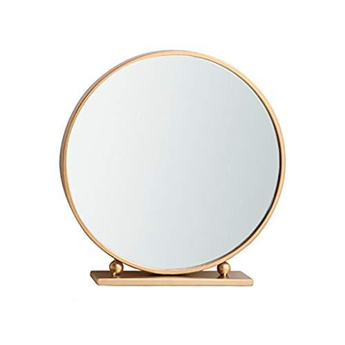 Badspiegel Nordic Badspiegel Schmiedeeisen Badspiegel mit Standfuß Kosmetikspiegel Vergrößerungsspiegel Luxus Gold Spiegel Cha Deko 40 cm B