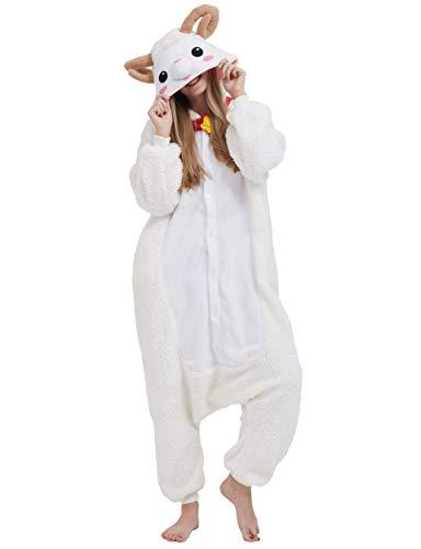 Jumpsuit Onesie Tier Karton Fasching Halloween Kostüm Sleepsuit Cosplay Overall Pyjama Schlafanzug Erwachsene Unisex Lounge, Schaf, Erwachsene Größe M - für Höhe 156-167CM